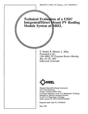 Primary view of object titled 'Technical evaluation of a USSC Integrated/Direct Mount PV Roofing Module system at NREL'.