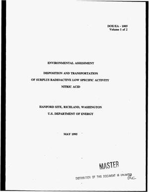 Primary view of object titled 'Disposition and transportation of surplus radioactive low specific activity nitric acid. Volume 1, Environmental Assessment'.