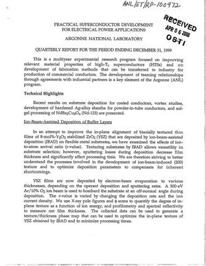Primary view of object titled 'Practical superconductor development for electrical power applications: Quarterly report for the period ending December 31, 1999'.
