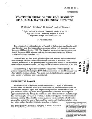 Primary view of object titled 'Continued study of the time stability of a small water Cerenkov detector'.