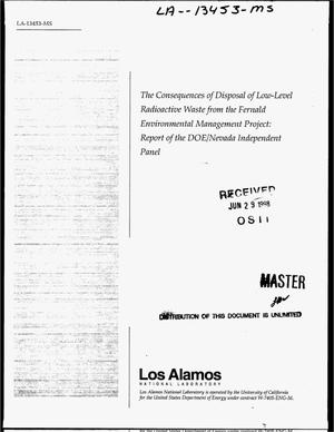 Primary view of object titled 'The consequences of disposal of low-level radioactive waste from the Fernald Environmental Management Project: Report of the DOE/Nevada Independent Panel'.