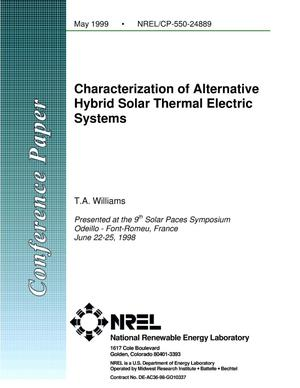 Primary view of object titled 'Characterization of Alternative Hybrid Solar Thermal Electric Systems'.
