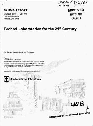Primary view of object titled 'Federal laboratories for the 21st century'.
