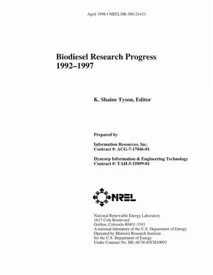 Primary view of object titled 'Biodiesel research progress 1992-1997'.