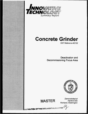Primary view of object titled 'Innovative technology summary report: Concrete grinder'.