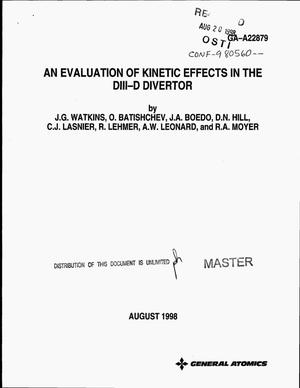 Primary view of object titled 'An evaluation of kinetic effects in the DIII-D divertor'.