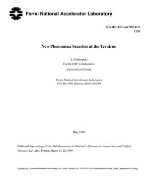 Primary view of object titled 'New phenomena searches at the Tevatron'.