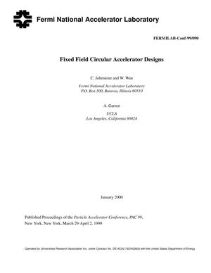 Primary view of object titled 'Fixed field circular accelerator designs'.