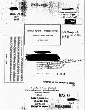 Primary view of object titled 'Monthly report - Process Section, Manufacturing Division, April 1955'.