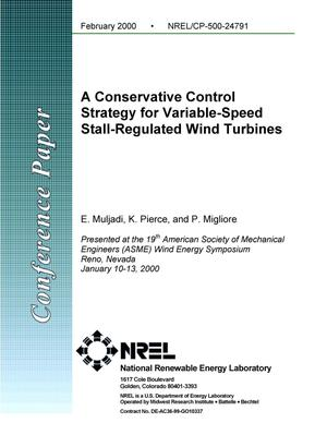 Primary view of object titled 'A conservative control strategy for variable-speed stall-regulated wind turbines'.