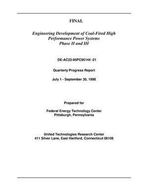 Primary view of object titled 'ENGINEERING DEVELOPMENT OF COAL-FIRED HIGH PERFORMANCE POWER SYSTEMS PHASE II AND III'.