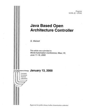 Primary view of object titled 'Java based open architecture controller'.