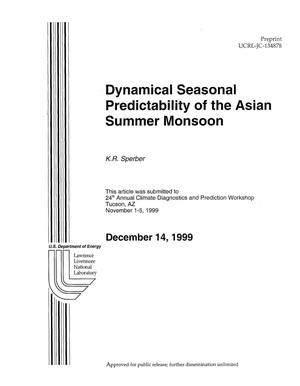 Primary view of object titled 'Dynamical seasonal predictability of the Asian summer monsoon'.