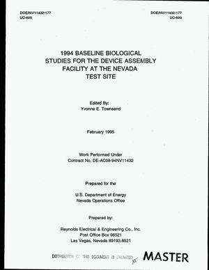 Primary view of object titled '1994 Baseline biological studies for the Device Assembly Facility at the Nevada Test Site'.