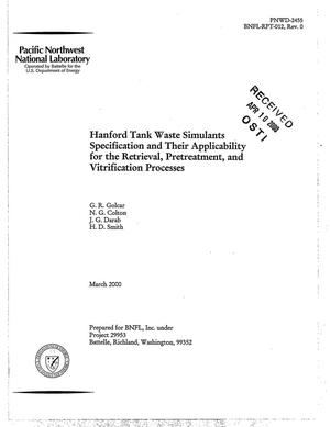 Primary view of object titled 'Hanford tank waste simulants specification and their applicability for the retrieval, pretreatment, and vitrification processes'.