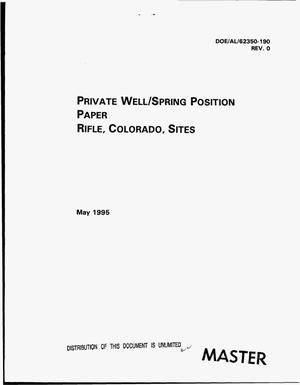 Primary view of object titled 'Private well/spring position paper, Rifle, Colorado, sites'.