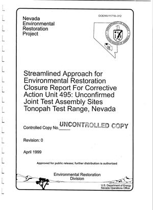 Primary view of object titled 'Streamlined Approach for Environmental Restoration Closure Report for Corrective Action Unit 495: Unconfirmed Joint Test Assembly Sites Tonopah Test Range, Nevada'.