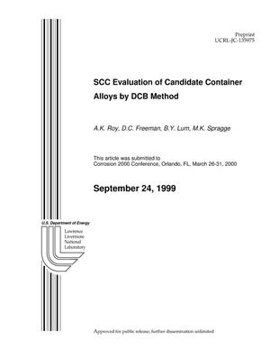 Primary view of object titled 'SCC evaluation of candidate container alloys by DCB method'.