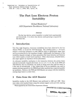 Primary view of object titled 'THE FAST LOSS ELECTRON PROTON INSTABILITY.'.