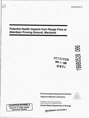 Primary view of object titled 'Potential health impacts from range fires at Aberdeen Proving Ground, Maryland.'.
