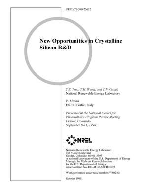 Primary view of object titled 'New Opportunities in Crystalline Silicon R&D'.