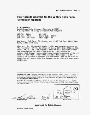 Fire hazards analysis for W030 tank farm ventilation upgrade