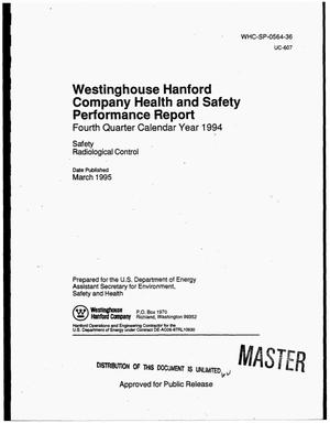 Primary view of object titled 'Westinghouse Hanford Company health and safety performance report. Fourth quarter calendar year 1994'.