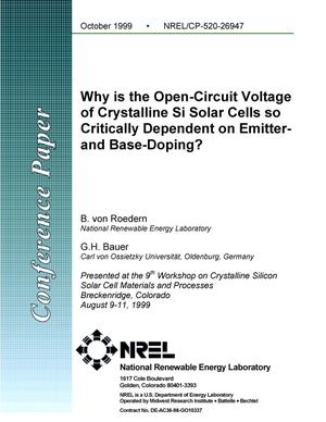 Primary view of object titled 'Why is the open-circuit voltage of crystalline Si solar cells so critically dependent on emitter- and base-doping?'.