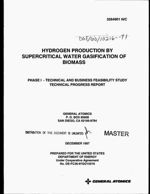 Primary view of object titled 'Hydrogen production by supercritical water gasification of biomass. Phase 1 -- Technical and business feasibility study, technical progress report'.