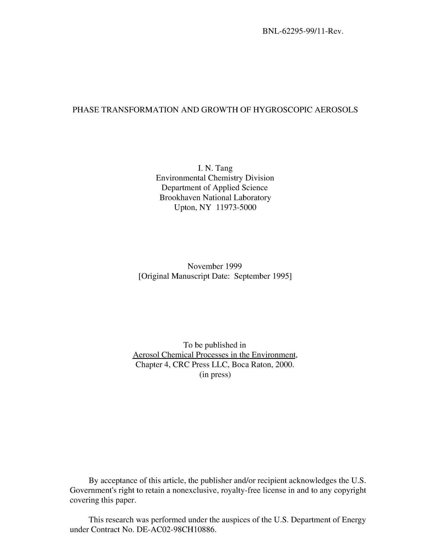 Phase transformation and growth of hygroscopic aerosols                                                                                                      [Sequence #]: 1 of 21