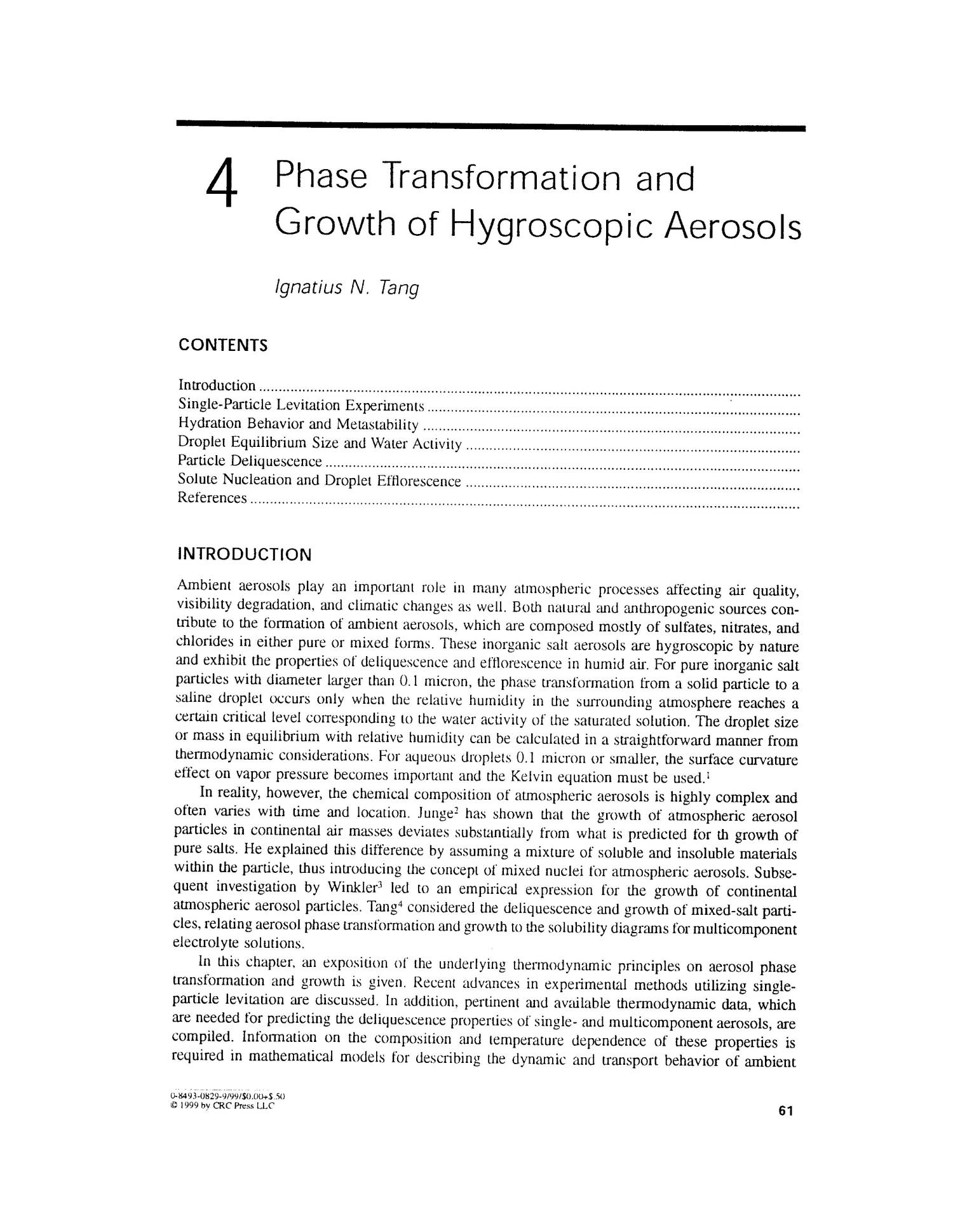 Phase transformation and growth of hygroscopic aerosols                                                                                                      [Sequence #]: 2 of 21