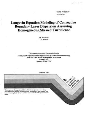 Primary view of object titled 'Langevin equation modeling of convective boundary layer dispersion assuming homogeneous, skewed turbulence'.
