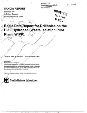 Primary view of object titled 'Basic Data Report for Drillholes on the H-19 Hydropad (Waste Isolation Pilot Plant--WIPP)'.