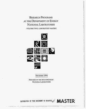 Primary view of object titled 'Research programs at the Department of Energy National Laboratories. Volume 2: Laboratory matrix'.