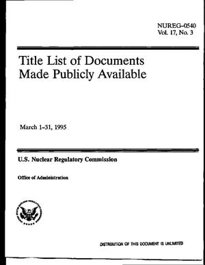 Primary view of object titled 'Title list of documents made publicly available, March 1--31, 1995: Volume 17, No. 3'.