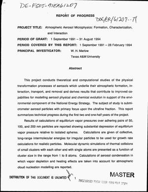 Primary view of object titled 'Atmospheric aerosol microphysics: Formation, characterization, and interaction. Progress report, September 1, 1991--February 28, 1994'.