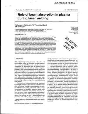 Primary view of object titled 'Role of beam absorption in plasma during laser welding'.