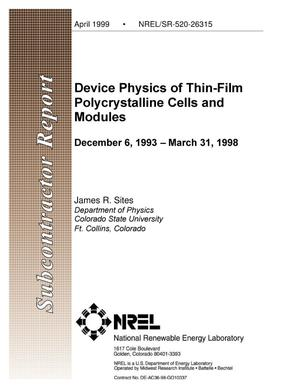 Primary view of object titled 'Device Physics of Thin-Film Polycrystalline Cells and Modules; Final Subcontract Report; 6 December 1993-15 March 1998'.