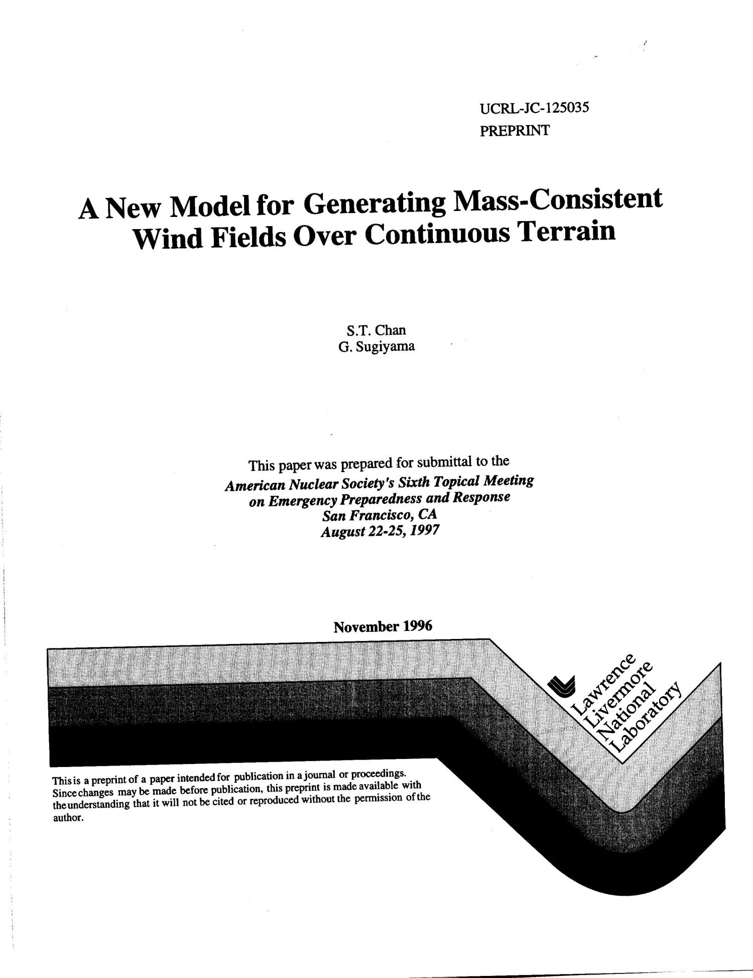 New model for generating mass-consistent wind fields over continuous terrain                                                                                                      [Sequence #]: 1 of 7