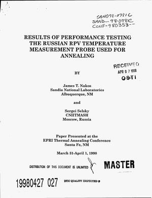 Primary view of object titled 'Results of performance testing the Russian RPV temperature measurement probe used for annealing'.
