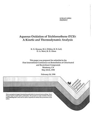 Primary view of object titled 'Aqueous oxidation of trichloroethene (TCE): a kinetic and thermodynamic analysis'.