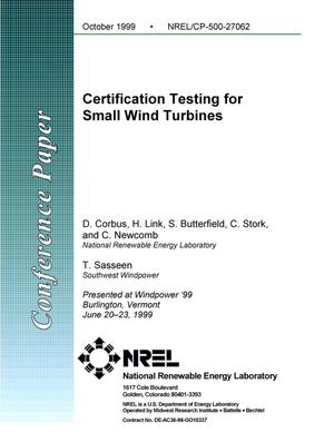 Primary view of object titled 'Certification testing for small wind turbines'.