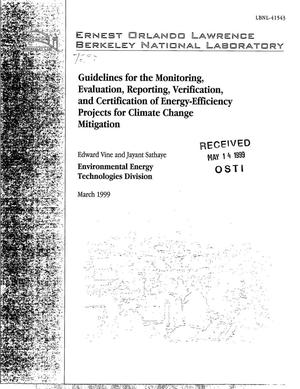 Primary view of object titled 'Guidelines for the Monitoring, Evaluation, Reporting, Verification, and Certification of Energy-Efficiency Projects for Climate Change Mitigation'.