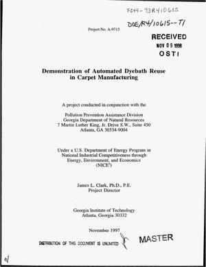 Primary view of object titled 'Demonstration of automated dyebath reuse in carpet manufacturing'.