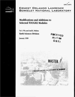 Primary view of object titled 'Modifications and additions to selected TOUGH2 modules'.
