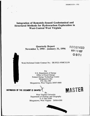 Primary view of object titled 'Integration of remotely-sensed geobotanical and structural methods for hydrocarbon exploration in west-central West Virginia. Quarterly report, November 1, 1995--January 31, 1996'.