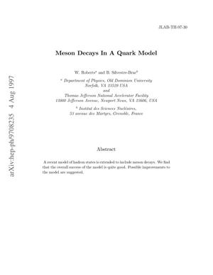 Primary view of object titled 'Meson decays in a quark model'.