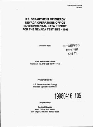 Primary view of object titled 'U.S. Department of Energy, Nevada Operations Office, environmental data report for the Nevada Test Site -- 1995'.