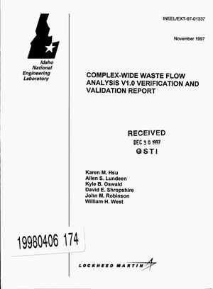 Primary view of object titled 'Complex-Wide Waste Flow Analysis V1.0 verification and validation report'.