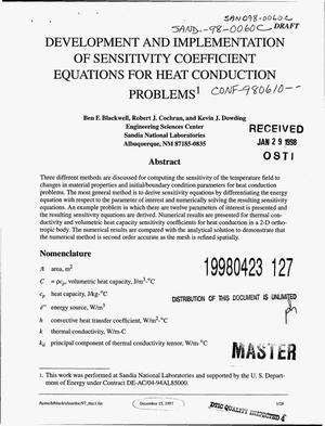 Primary view of object titled 'Development and implementation of sensitivity coefficient equations for heat conduction problems'.
